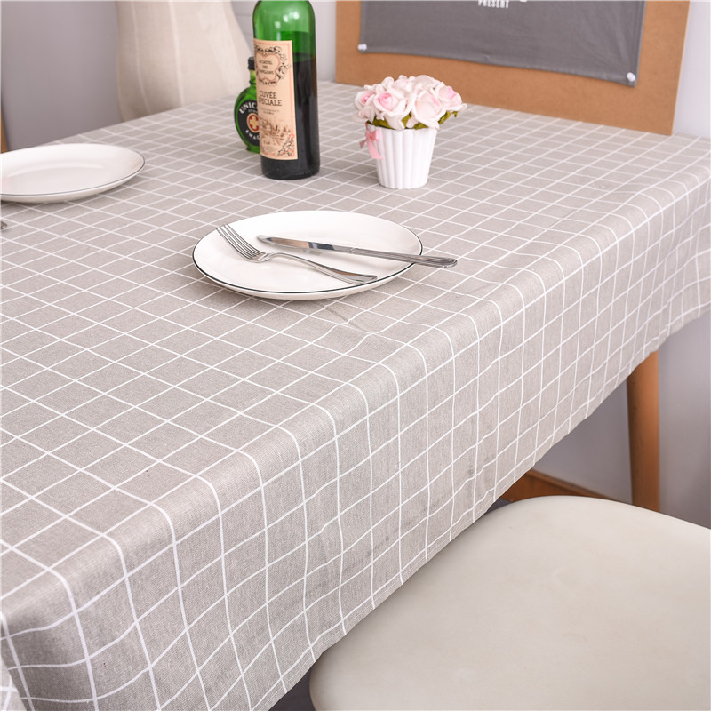 ROMANZO lin naturel coton tissu nappe rectangulaire blanc gris noir plaid couverture de Table basse en gros