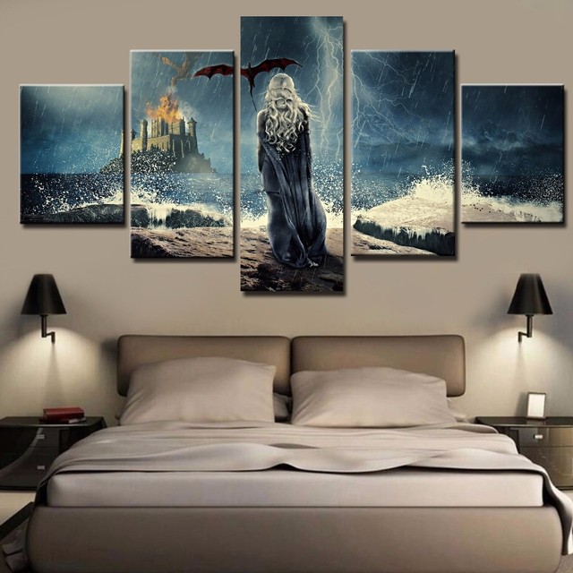 HD Printed 5 Pieces Modular Canvas Pictures Home Decor Frames Poster Games Of Thrones Paintings  Wall Art For Living Room Poster