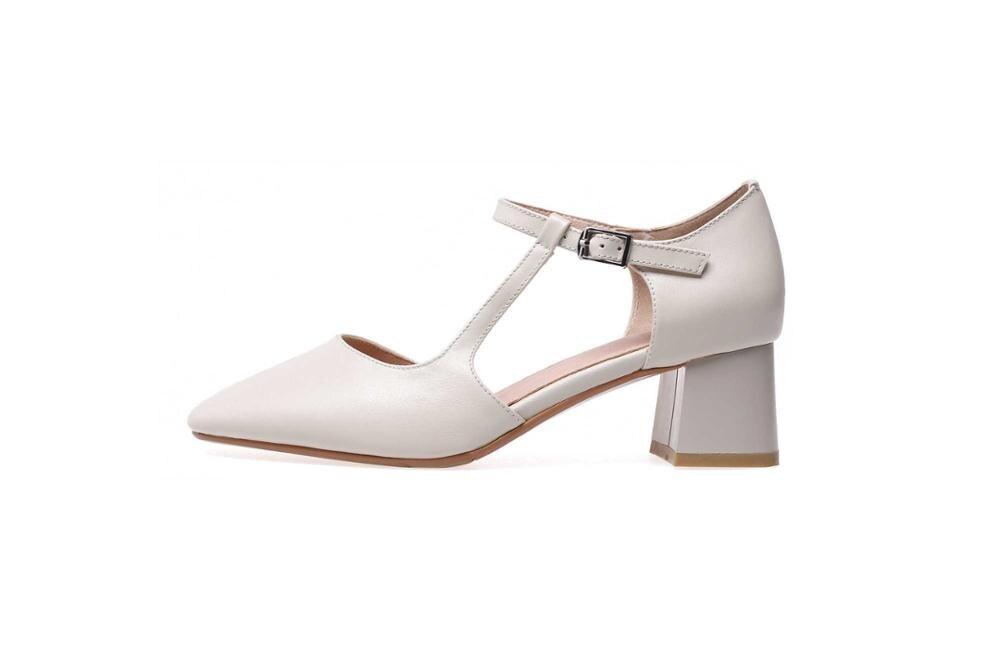 Ayakk.'ten Kadın Pompaları'de Krazing Pot hakiki deri tıknaz med topuklar toka askı boş kadın pompaları kare ayak genç kızlar artı boyutu parti ayakkabıları L76'da  Grup 3