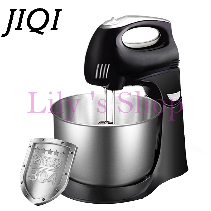 JIQI MINI Electric Hand Egg beater Stand Mixer Rotary cake dough mixer household stainless steel food blender machine 4.3L EU US