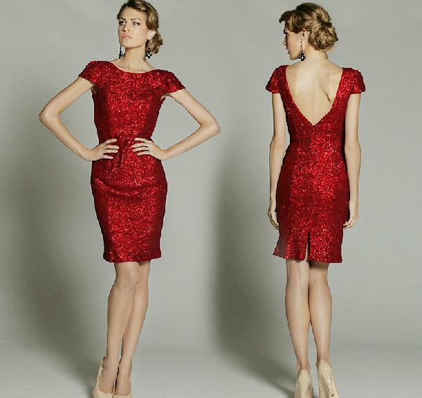 Cheap Free Shipping Vestido De Festa Curto 2016 New Fashion Hot Sexy Backless Paillette Red Short Prom Cocktail Party Dresses