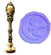 Vintage Eagle Moon Custom Picture Logo Luxury Wax Seal Sealing Stamp Brass Peacock Metal Handle Gift Set