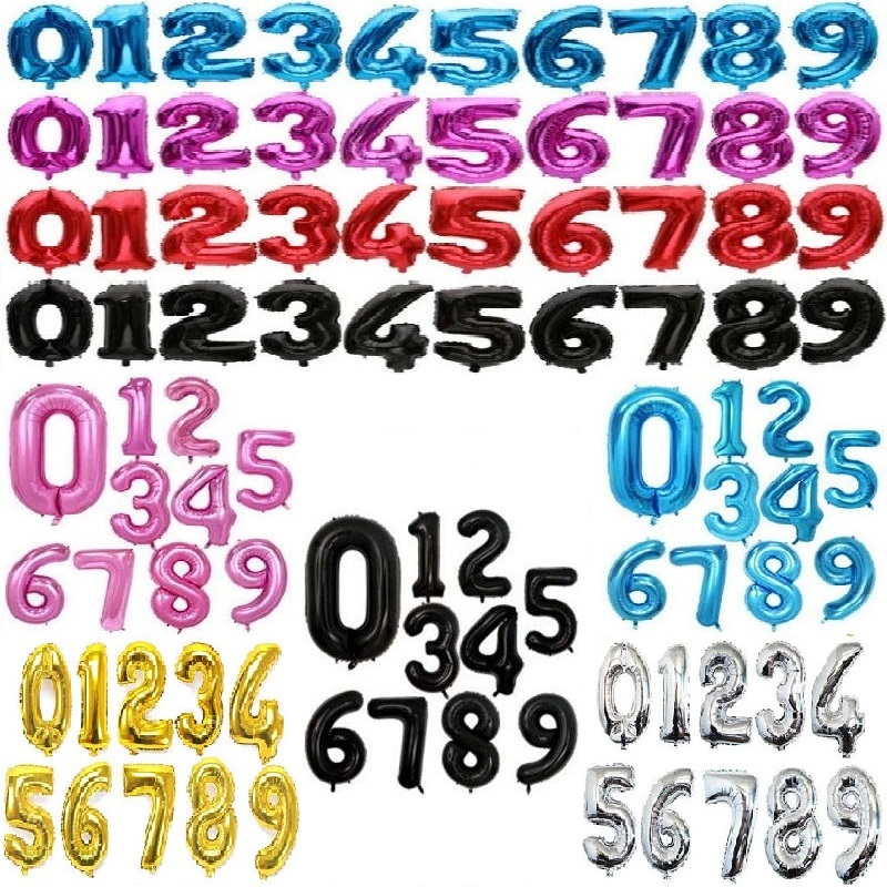 32 40inch Number Balloon Blue Black Red Gold Silve Number