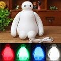 Rgbw cor mudar Baymax dos desenhos animados LED noite luz crianças lâmpada de cama de bebê noite lâmpada de decoração de mesa Eyeshield lâmpada
