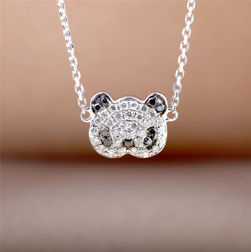Panda Design Pave Set 0.11ctw Row Diamond Pendant 18k White Gold Natural White and Black Diamond Pendant Necklace
