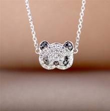 Panda Design Pave Set 0.11ctw Row Diamond Pendant 18k White Gold Natural White and Black Diamond Pendant Necklace