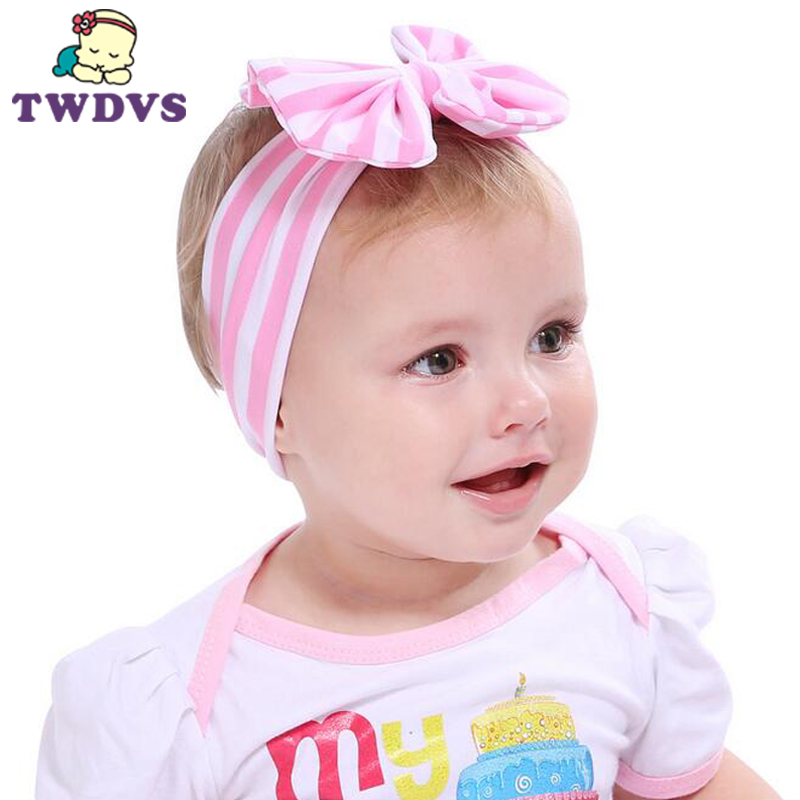 1PC Hot Sale Baby Girl Striped Knot Headband Kids Turban Knitted Hair Accessories Children Cross Headwear  180 soft headwear cross hairband turban knitted knot headband kids hair bands newbown hair accessories w 146