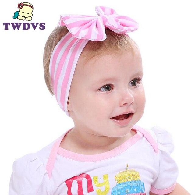 1 unid Venta caliente bebé rayas nudo niños turbante hecho punto Accesorios  de pelo niños Cross 01a9ea46a79