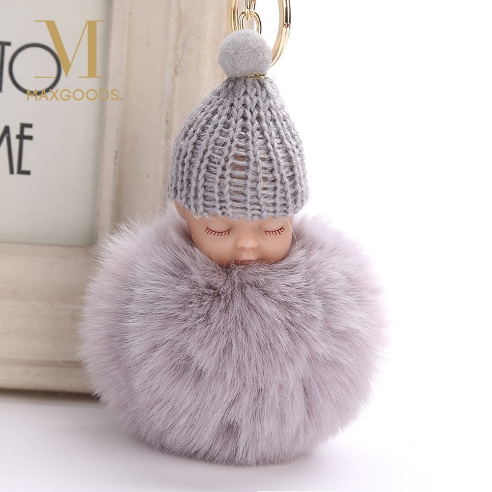 Energetic Cute Fluffy Pompom Sleeping Baby Key Chain Faux Rabbit Fur Pom Pon Knitted Hat Baby Doll Keychain Car Keyring Toy New Year Gifts