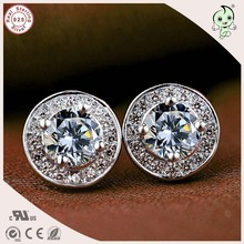 Sale New Arrival European And America Classic Top Quality 925 Real Silver Full Stone Paving Round Stud Earring