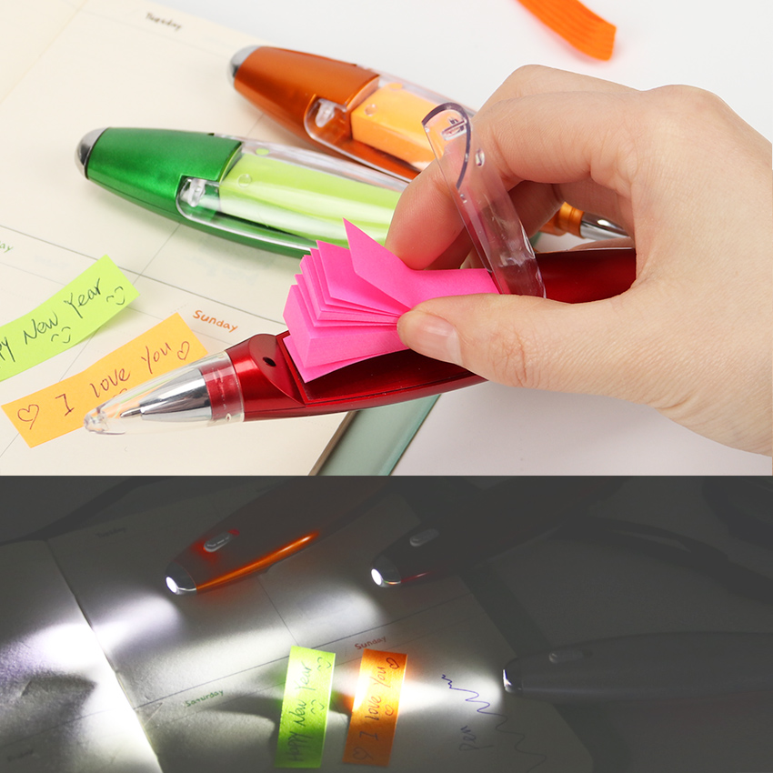 все цены на Cute Kawaii Plastic Ballpoint Pen Creative Light Ball Pen With Memo Pad Kids Gift Korean Stationery