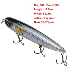 Smart Pencil Fishing Lure 125mm27.8g Top Water Hard Bait with France VMC Hook Peche Leurre Dur Jerkbait Saltwater Fishing Tackle