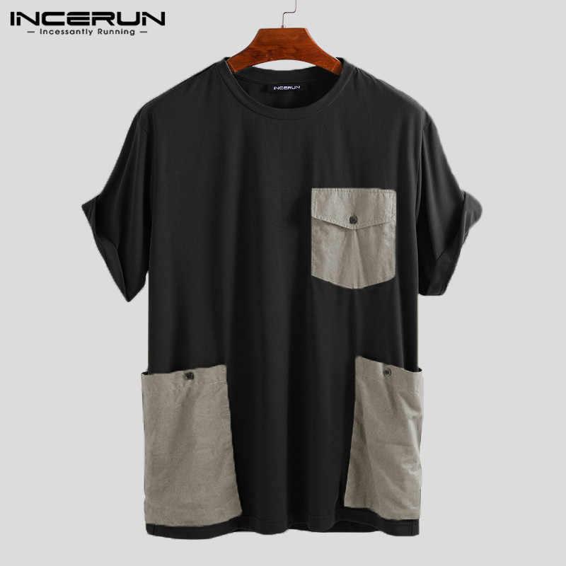 INCERUN Mode Männer T Shirt Taschen Solide Kurzarm Lose High Street Casual Tees Männer Paar Damen T-shirts Plus Größe 2020