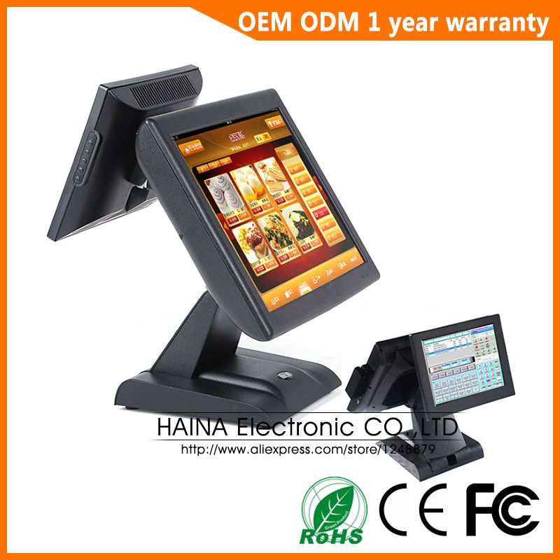 Haina Touch 15 inch Touch Screen Restaurant POS System Dual Screen POS Machine with Card Reader ...