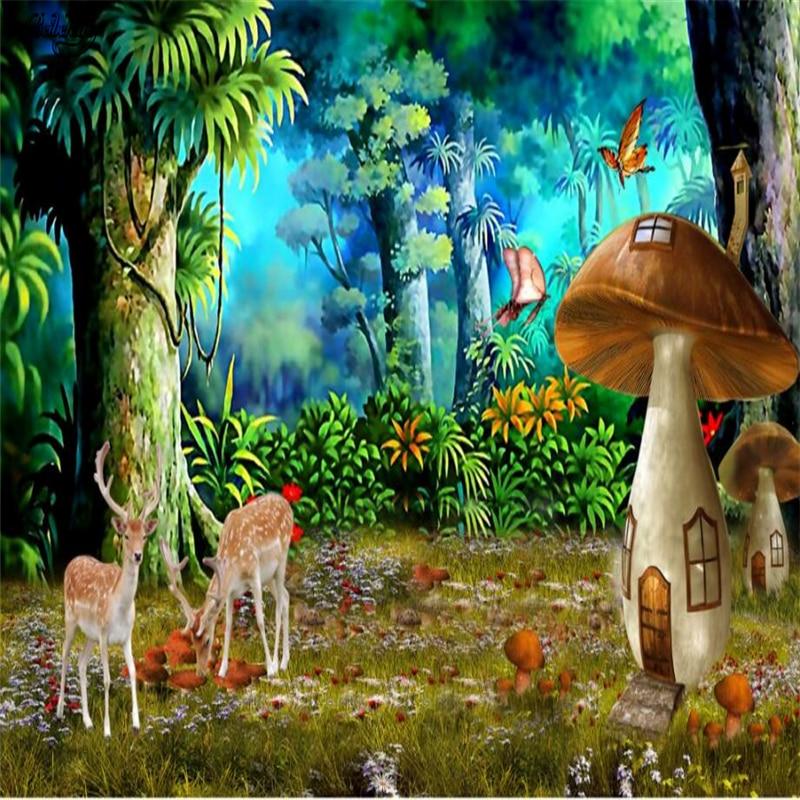 Beibehang grande papel de parede personalizado bonito sonho floresta cogumelo sika veado fundo decoração da