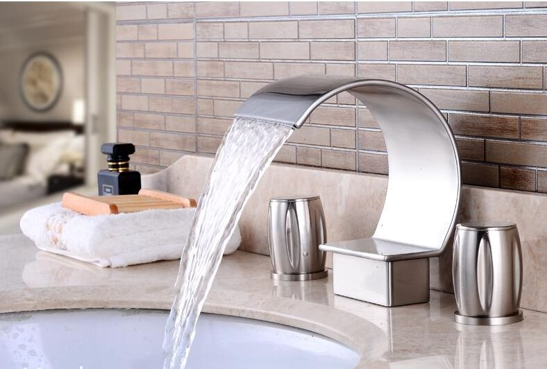 Brushed Nickel Faucet Waterfall Bathroom Spout Sink One: Free Ship Brushed Nickel Bathroom Solid Brass Dual Handles