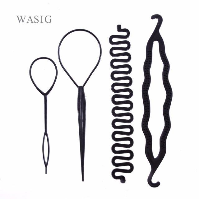 4 unids/set Magic Hair Braiding Twist Curler Styling Set horquilla sujetando el pelo Braiders Pull Hair Needle Ponytail DIY herramienta