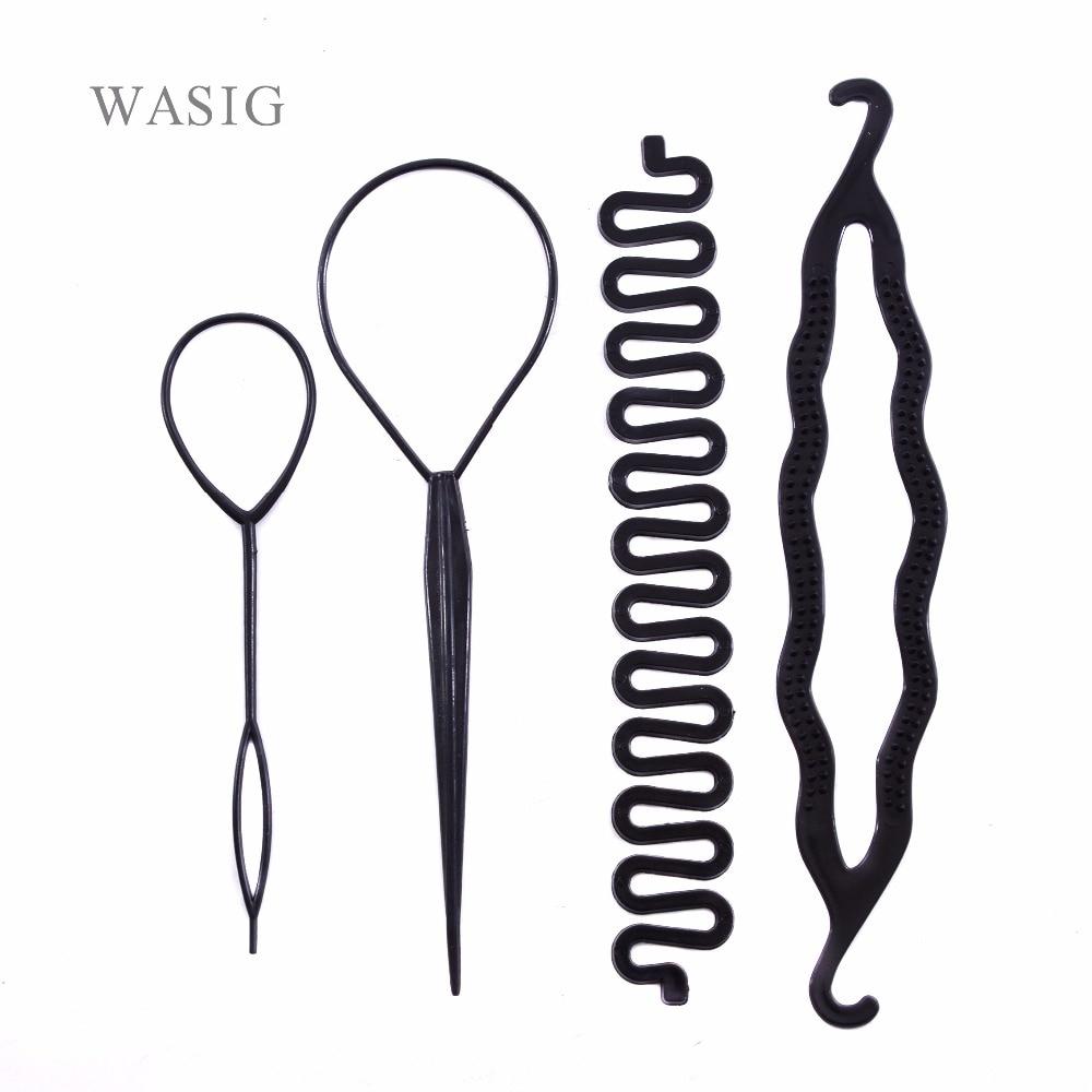 4pcs/set Magic Hair Braiding Twist Curler Styling Set Hairpin Holding Hair Braiders Pull Hair Needle Ponytail DIY Tool
