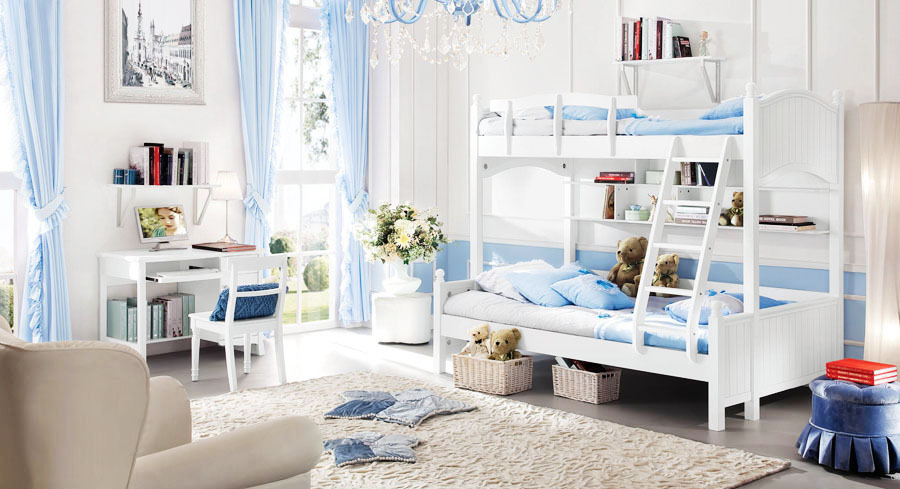 Baroque style kids bedroom set kid bunk bed solid wood - Solid wood youth bedroom furniture ...