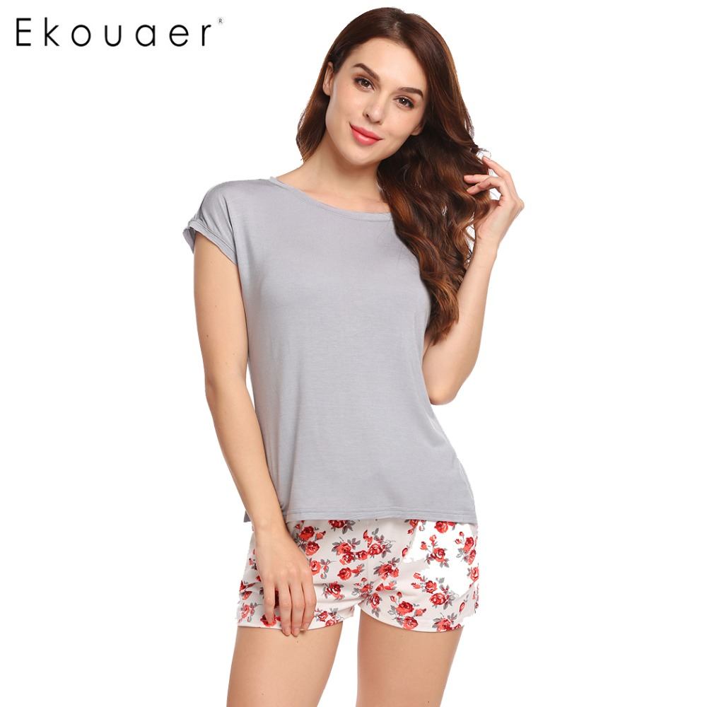 Print floral two pieces pajamas set summer short sleeve t-shirt lounge sleepwear women o-neck casual loose nightwear
