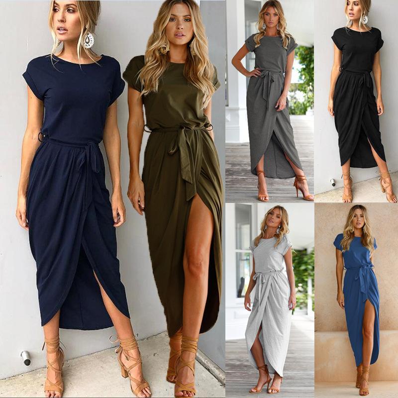 Women Shor Sleeve Maxi Dress New Fashion Long Lace Shirt Dresses Open Slit Casual