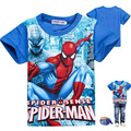 2014 Лето детская Одежда Мальчик футболка мультфильм Человек-Паук графические узоры 100% хлопка с коротким рукава рубашки основные