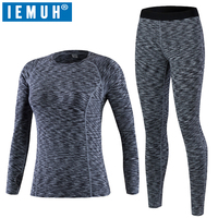 IEMUH Brand Women Sport Thermal Underwear Winter Fitness Warm Thicken Warmthtm Hiking Ski Thermal Underwear Long Underwear Suit
