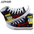 JUP Men Males Boy Girl Despicable Me Minion Simpson Bay Max Rabbit  Pink Purple Princess High Top Hand Painted Canvas Shoes