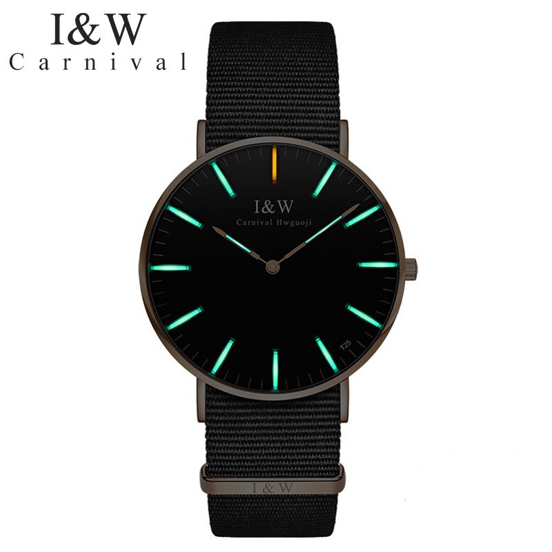 Carnival IW watch male Xenon self-illuminating luminous mens watch canvas waterproof belt watch female quartz watch male clockCarnival IW watch male Xenon self-illuminating luminous mens watch canvas waterproof belt watch female quartz watch male clock
