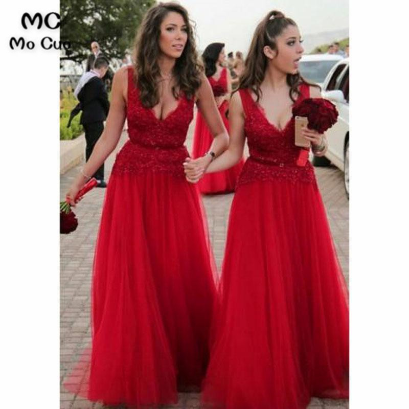2018 Bright Red   Bridesmaid     Dresses   Long with Lace Appliques Wedding Party   Dress   Zipper Floor Length Tulle Women   Bridesmaid     Dress