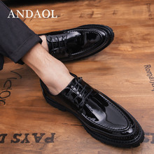 ANDAOL Mens Leather Casual Shoes Top Quality Solid Derby Luxury Wedding Dress Business Office Lace-Up shoes Loafers