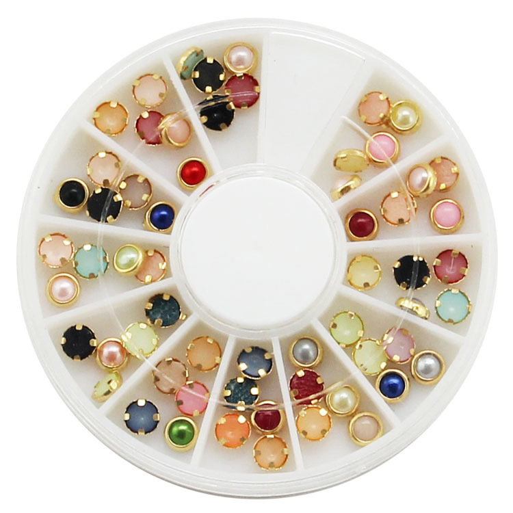 4mm Colorful Glitter 3d Nail Rhinestone Pearls Wheel Gold Metal Studs DIY Beauty Nail Art Decorations hot 3d boat stone nail art decorations bling charm rhinestone for nail pedras para unha unghie diy acrylic tool ongle with wheel