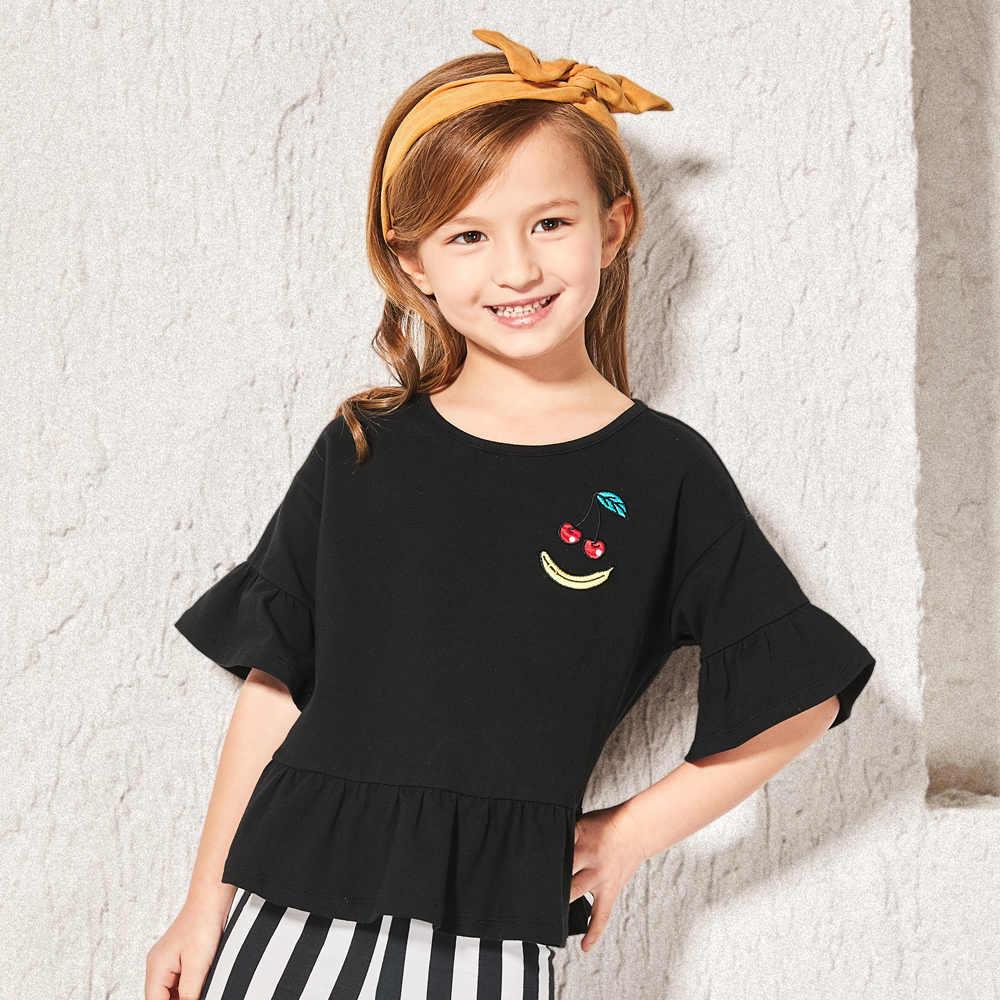Balabala/Летняя футболка для девочек из чистого хлопка, короткие рукава-фонарики, футболки для маленьких девочек, детская футболка, футболки с круглым вырезом, одежда