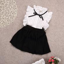 Комплект из 2 предметов, платье для девочек, топы в полоску без рукавов для маленьких девочек+ Однотонная юбка, комплект одежды