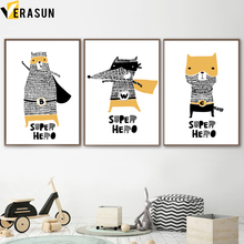 Cartoon Cute Hand Drawn Bear Wolf Cat Superhero Nordic Posters And Prints Wall Art Canvas Painting Pictures Kids Room Decor