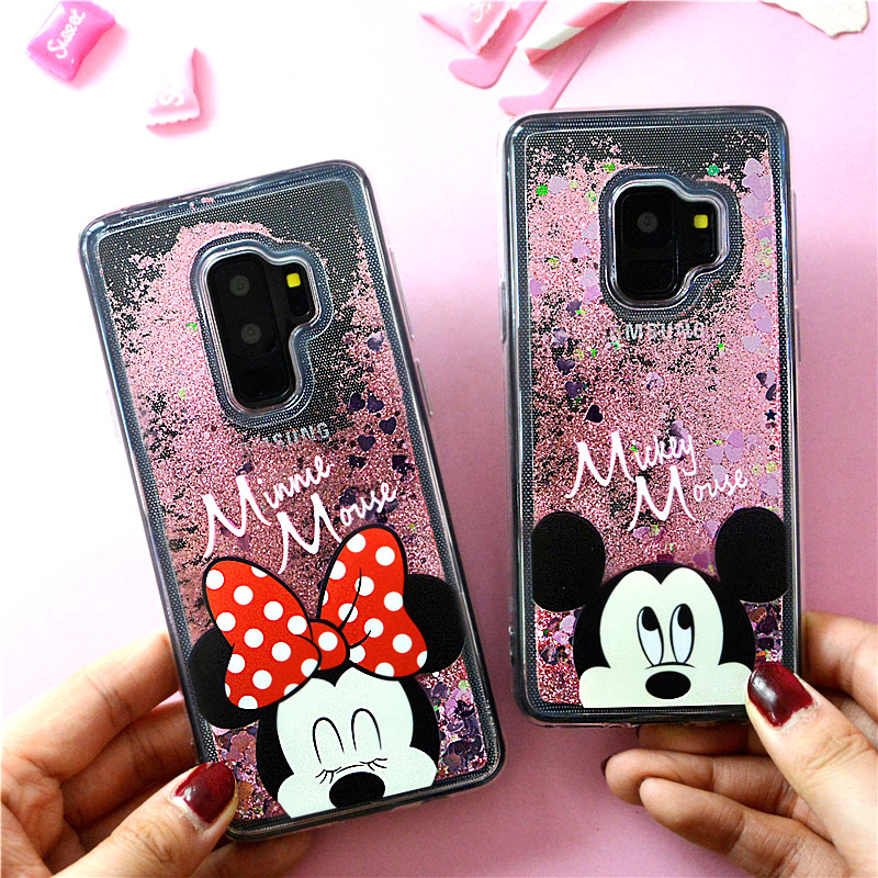Luxury Glitter Liquid Cover For iPhone X 6S 7 8 Plus Back Case For Samsung S7 Edge S8 S9 Plus Cover Minnie Mouse Soft Coque