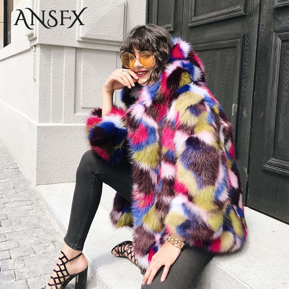 ANSFX Trendy Hairy Shaggy Faux Fur Coat Multi Color Spliced Hooded Cap Collar Fur Jacket Coat Outerwear Winter Warm Women Top