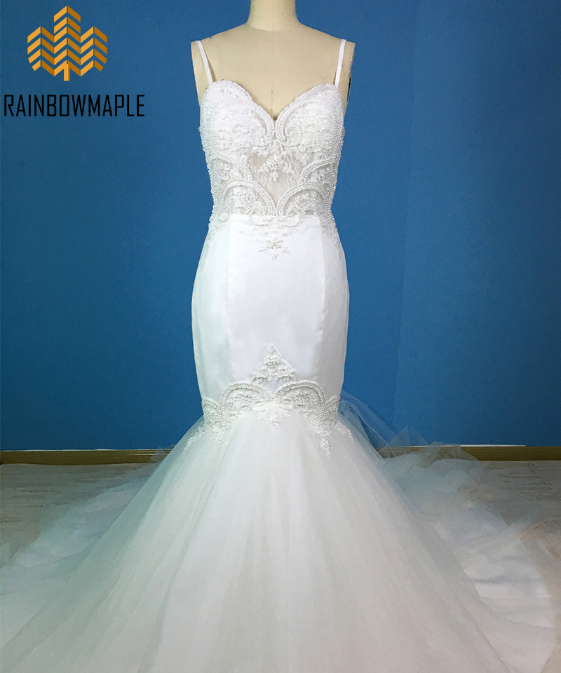 Sexy Beaded Lace Mermaid Wedding Dresses Unique Pearls Sheer Bodice Court Train Wedding Gowns For Women Ivory Cheap Bridal Gowns