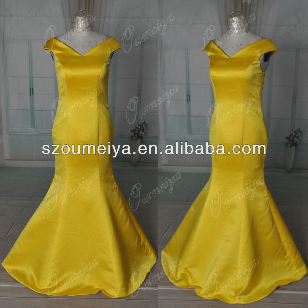 Compare prices on bridesmaid dresses wrap online shoppingbuy low oumeiya real picture orb5 satin off the shoulder mermaid yellow gold bridesmaid dress 2014china ombrellifo Image collections
