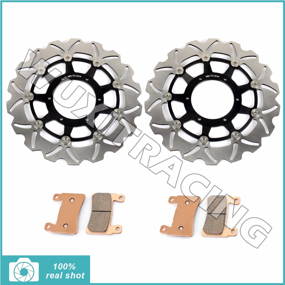 Pair New Front Brake Discs Rotors + Brake Pads for HONDA CBR600F CBR 600 F F4i Super Sport  01-06 2001 2002 2003 2004 2005 2006 2001 2002 2003 2004 2005 2007 full set motorcycle new front rear brake discs rotors for honda cbr600f cbr 600 f supersport f4