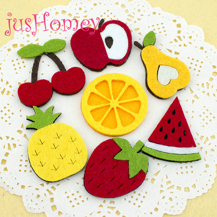 100 pcs Non Woven Fabric Fruit Slice Patches Die Cut Felt Appliques DIY Craft, Home Party Decor, Apparel, Baby Hair Accessory