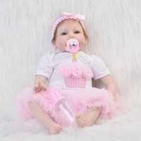 22'' 55cm Soft Silicone Reborn Baby Doll with Pink Candle Dress Real Like Smile Bonecas Doll Reborn Birthday Xmas Gift For Girls