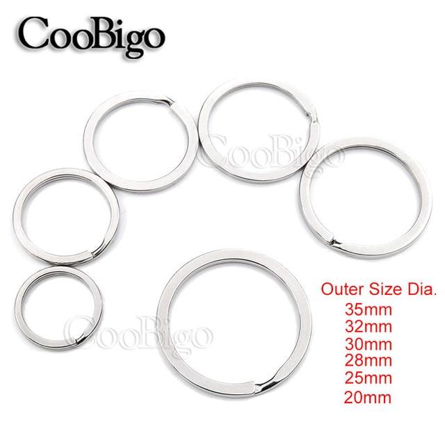 10pcs 6 Sizes 20mm~35mm Outer Diameter Flat Key Rings Key Chain ...