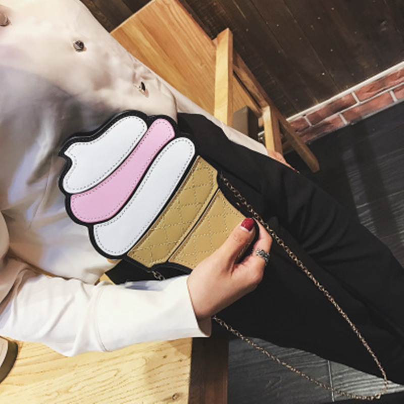 Lindo de dibujos animados mujeres helado Cupcake Mini PU bolsos de cuero pequeña cadena embrague Crossbody hombro de la muchacha bolsa de mensajero Dropshipping