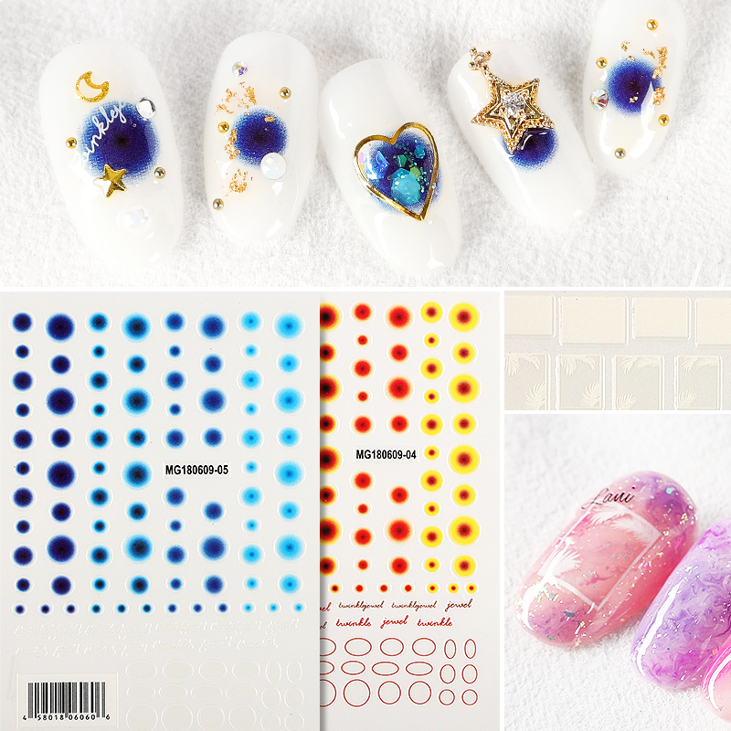 Newest MGM 04 05 colorful dots design 3D nail stickers template nail decals self adhesive DIY nail decoration for nail wraps in Stickers Decals from Beauty Health