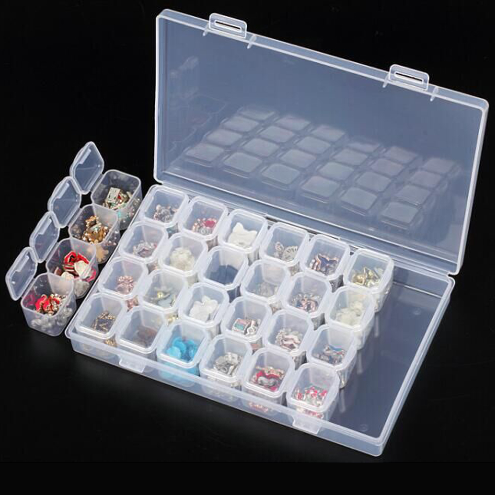 28 Slots Clear Plastic Storage Box Nail Art Tools Rhinestone Jewelry Beads Display Storage Box Case Organizer Holder