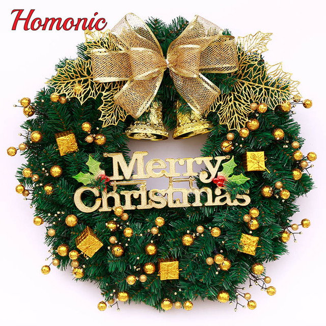 Christmas Wreath Images Free.Us 20 73 Hot New Diy Merry Christmas Wreath 30cm 40cm Garland Window Door Decorations Bowknot Ornament Artificial Garland Free Shipping In Wreaths