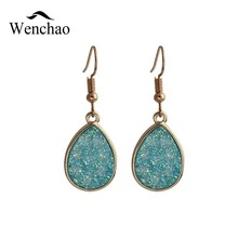 2018 Sparkle Crystal Druzy Earings For Women Jewelry Handmade Waterdorp Drusy Hanging Drop Earing Eardrop Long Earrings Jewelry druzy crystal earring for women 2019 gold metal circle oval natural stone long drop earrings jewelry brincos earing eardrop