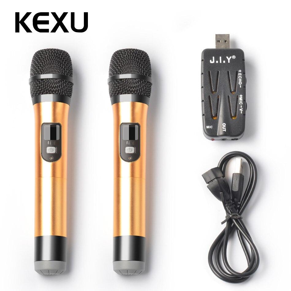 KEXU 2 шт. TP-Беспроводной Dual Channel USB Беспроводной микрофон для караоке Конференц- ...