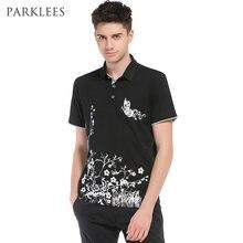 Verano Polo camisa hombres 2017 Nuevo manga corta floral mariposa impresión  Polo Homme casual slim fit 9fc2571f7a7b4